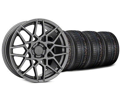 Staggered 2013 GT500 Style Charcoal Wheel & NITTO INVO Tire Kit - 20x8.5 (15-17 V6, EcoBoost)