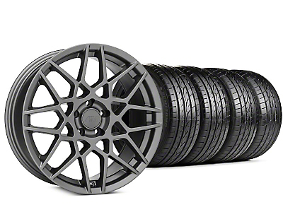 Staggered 2013 GT500 Style Charcoal Wheel & Sumitomo HTR Z III Tire Kit - 19x8.5 (15-18 GT, EcoBoost, V6)
