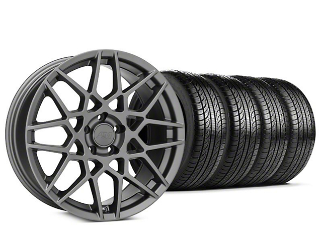 Staggered 2013 GT500 Style Charcoal Wheel & Pirelli P-Zero Nero Tire Kit - 19x8.5 (15-19 GT, EcoBoost, V6)