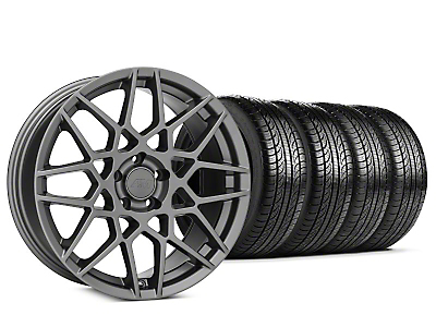 Staggered 2013 GT500 Style Charcoal Wheel & Pirelli P-Zero Nero Tire Kit - 19x8.5 (15-18 GT, EcoBoost, V6)
