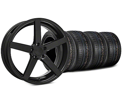 Staggered Rovos Durban Gloss Black & NITTO INVO Tire Kit - 20x8.5 (15-19 GT, EcoBoost, V6)