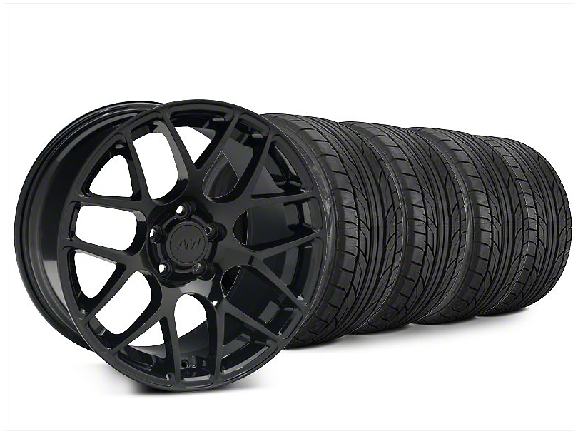 Staggered AMR Black Wheel & NITTO NT555 G2 Tire Kit - 20x8.5/10 (15-19 GT, EcoBoost, V6)