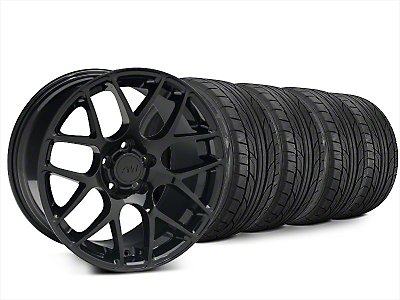 Staggered AMR Black Wheel & NITTO NT555 G2 Tire Kit - 20x8.5/10 (15-18 GT, EcoBoost, V6)
