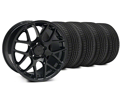 Staggered AMR Black Wheel & Michelin Pilot Sport A/S 3+ Tire Kit - 20x8.5/10 (15-18 GT, EcoBoost, V6)