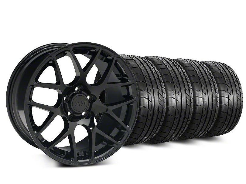 Staggered AMR Black Wheel & Mickey Thompson Street Comp Tire Kit - 20 in. - 2 Rear Options (15-18 GT, EcoBoost, V6)