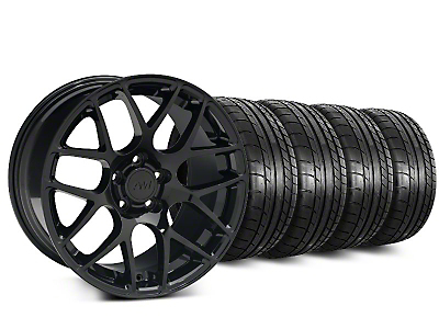 Staggered AMR Black Wheel & Mickey Thompson Street Comp Tire Kit - 20 in. - 2 Rear Options (15-19 GT, EcoBoost, V6)