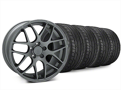 Staggered AMR Charcoal Wheel & NITTO NT555 G2 Tire Kit - 20x8.5/10 (15-18 GT, EcoBoost, V6)