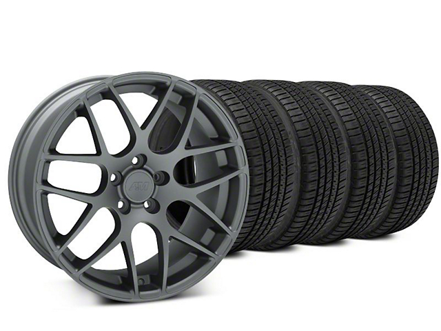 Staggered AMR Charcoal Wheel & Michelin Pilot Sport A/S 3+ Tire Kit - 20x8.5/10 (15-19 GT, EcoBoost, V6)