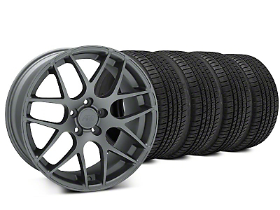 Staggered AMR Charcoal Wheel & Michelin Pilot Sport A/S 3+ Tire Kit - 20x8.5/10 (15-18 GT, EcoBoost, V6)