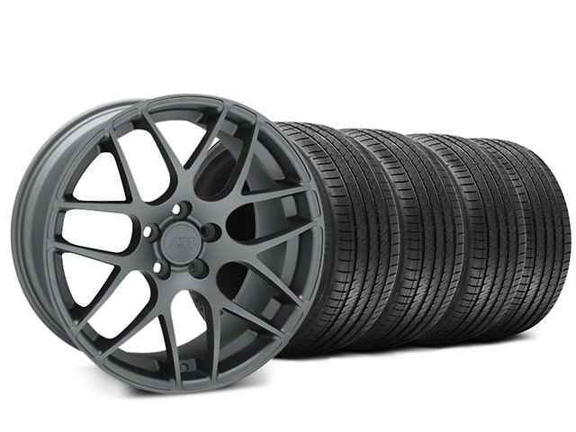 Staggered AMR Charcoal Wheel & Sumitomo HTR Z III Tire Kit - 20x8.5 (15-18 All)