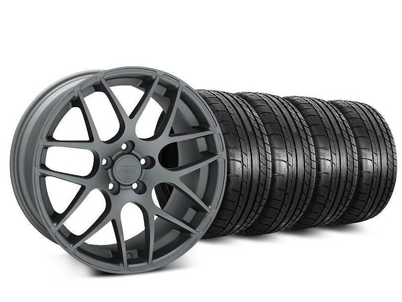 Staggered AMR Charcoal Wheel & Mickey Thompson Street Comp Tire Kit - 20 in. - 2 Rear Options (15-18 GT, EcoBoost, V6)