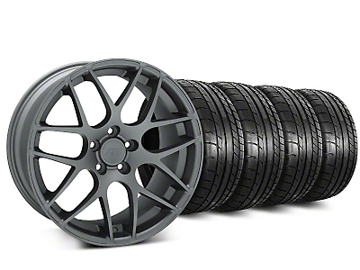 Staggered AMR Charcoal Wheel & Mickey Thompson Street Comp Tire Kit - 20 in. - 2 Rear Options (15-19 GT, EcoBoost, V6)