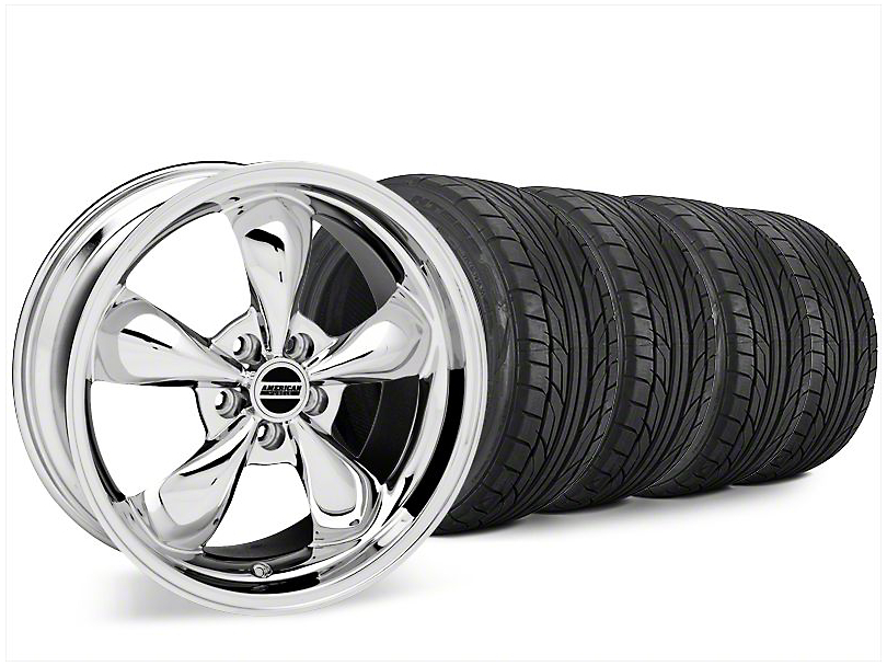 Staggered Bullitt Chrome Wheel and NITTO NT555 G2 Tire Kit; 20x8.5/10 (15-20 EcoBoost, V6)