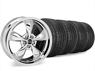 Staggered Bullitt Chrome Wheel & NITTO NT555 G2 Tire Kit - 20x8.5/10 (15-18 EcoBoost, V6)