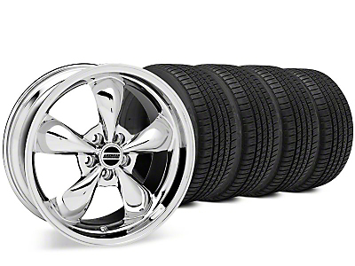 Staggered Bullitt Chrome Wheel & Michelin Pilot Sport A/S 3+ Tire Kit - 20x8.5/10 (15-17 EcoBoost, V6)