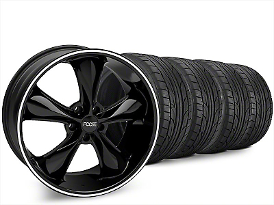 Staggered Foose Legend Black Wheel & NITTO NT555 G2 Tire Kit - 20x8.5/10 (15-17 V6, EcoBoost)