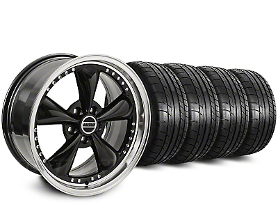Staggered Bullitt Motorsport Black Wheel & Mickey Thompson Street Comp Tire Kit - 18x9 (15-18 GT, EcoBoost, V6)