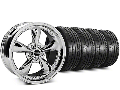 Staggered Bullitt Motorsport Chrome Wheel & Mickey Thompson Street Comp Tire Kit - 18x9 (15-18 GT, EcoBoost, V6)