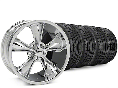 Staggered Foose Legend Chrome Wheel & NITTO NT555 G2 Tire Kit - 20x8.5/10 (15-17 V6, EcoBoost)