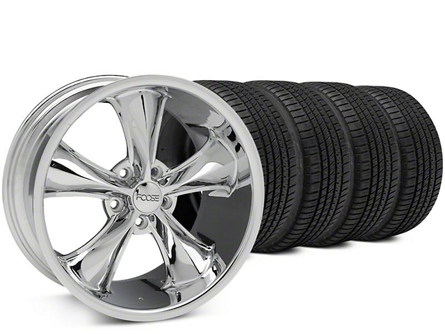Staggered Foose Legend Chrome Wheel & Michelin Pilot Sport A/S 3+ Tire Kit - 20x8.5/10 (15-17 V6, EcoBoost)