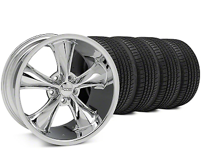 Staggered Foose Legend Chrome Wheel & Michelin Pilot Sport A/S 3+ Tire Kit - 20x8.5/10 (15-17 EcoBoost, V6)