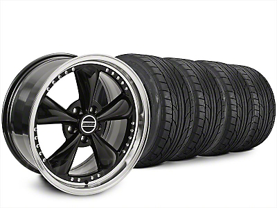 Staggered Bullitt Motorsport Black Wheel & NITTO NT555 G2 Tire Kit - 20x8.5/10 (15-17 V6, EcoBoost)