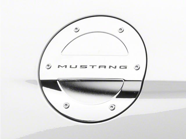 MMD Chrome Billet Aluminum Fuel Door w/ Mustang Lettering (15-19 All)