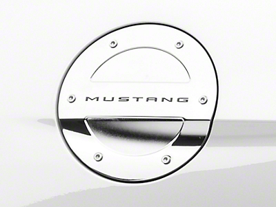 MMD Chrome Billet Aluminum Fuel Door w/ Mustang Lettering (15-18 All)