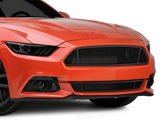 Modern Billet 3-Window Black Mesh Grille (15-17 GT, EcoBoost, V6)