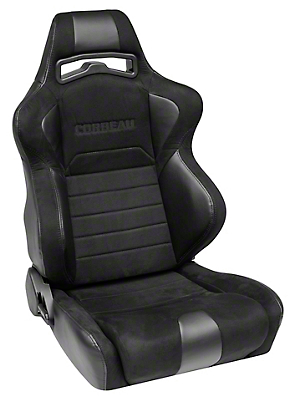 Corbeau LG1 Racing Seat - Wide - Black Microsuede - Pair (79-18 All)