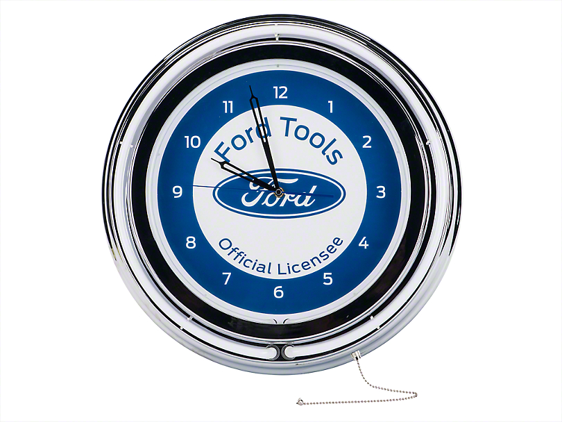 Ford Neon Clock with Pull Chain