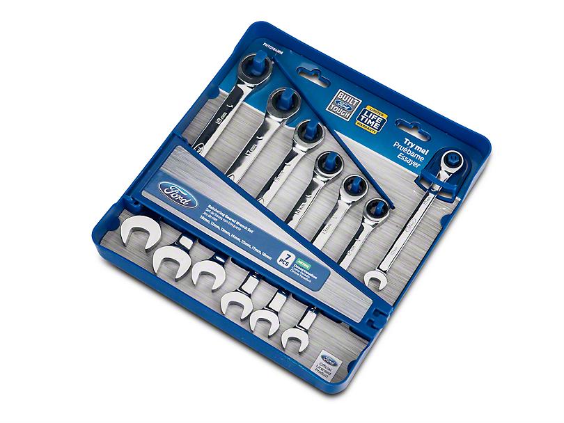 Ford 7 Piece Geared Metric Wrench Set w/ Storage Tray
