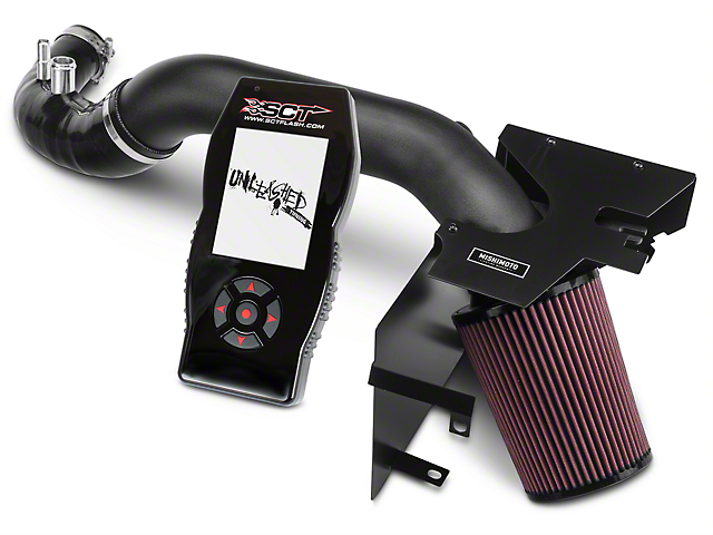 Mishimoto Performance Air Intake - Wrinkle Black & SCT X4 Tuner w/ Unleashed Tunes (15-17 EcoBoost)