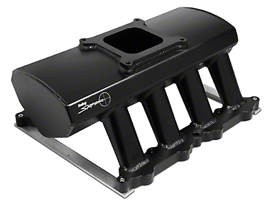 Sniper Hi-Ram Single Plane Carbureted Fabricated Intake Manifold - Black (11-14 GT)