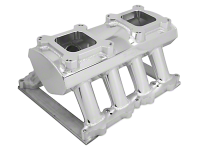 Sniper Hi-Ram Single Plane Dual Quad Carbureted Fabricated Intake Manifold - Silver (11-14 GT)