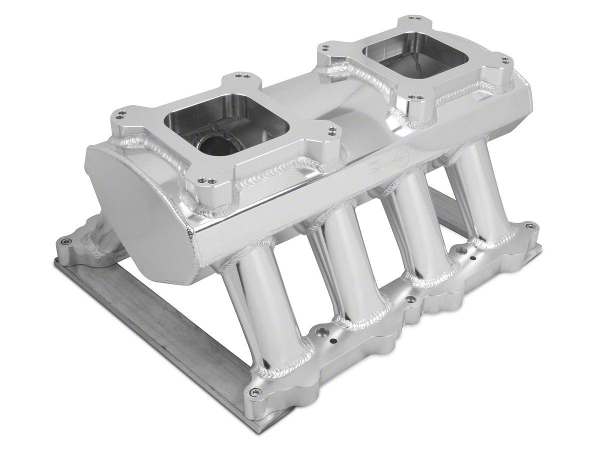 Sniper Hi-Ram Single Plane Dual Quad Carbureted Fabricated Intake Manifold  - Silver (11-14 GT)
