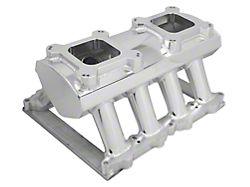 Sniper Hi-Ram Single Plane Dual Quad Carbureted Fabricated Intake Manifold; Silver (11-14 GT)