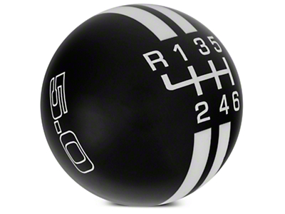 Rally Stripe 6-Speed Shift Knob w/ 5.0 Logo - Black/White (15-17 GT, EcoBoost, V6)