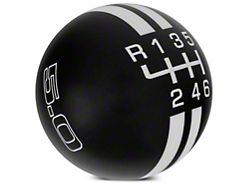 Modern Billet Rally Stripe 6-Speed Shift Knob w/ 5.0 Logo - Black/White (15-20 GT, EcoBoost, V6)