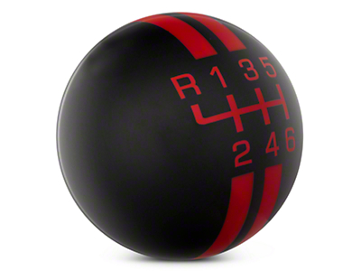 Rally Stripe 6-Speed Shift Knob - Black/Red (15-19 GT, EcoBoost, V6)