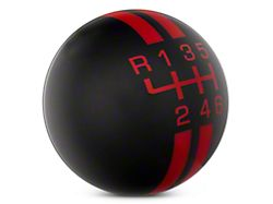 Modern Billet Rally Stripe 6-Speed Shift Knob - Black/Red (15-20 GT, EcoBoost, V6)