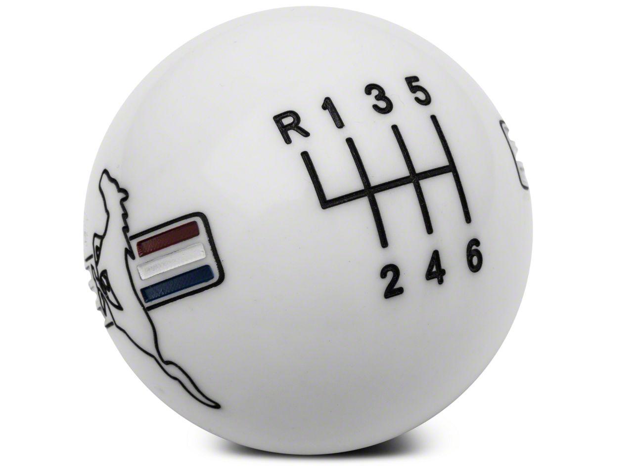 Modern Billet Retro Style 6-Speed Shift Knob w/ Tri-Bar Pony Logo - White (15-19 GT, EcoBoost, V6)
