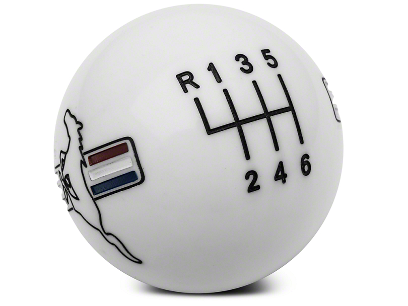 Modern Billet Retro Style 6-Speed Shift Knob w/ Tri-Bar Pony Logo - White (15-17 GT, EcoBoost, V6)