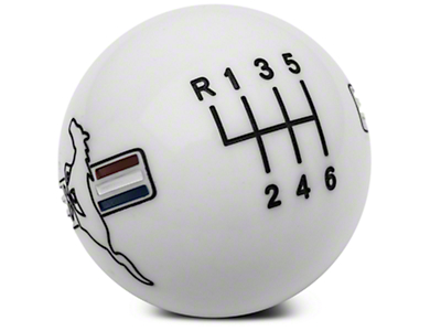 Modern Billet Retro Style 6-Speed Shift Knob w/ Tri-Bar Pony Logo - White (15-19 GT, EcoBoost, V6)