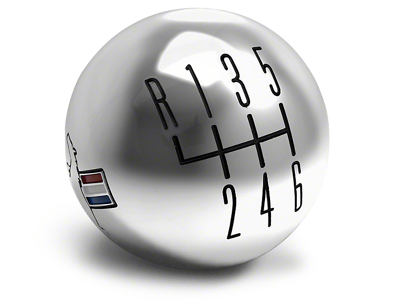 Modern Billet Retro 6-Speed Shift Knob w/ Tri-Bar Logo - Chrome (15-18 GT, EcoBoost, V6)