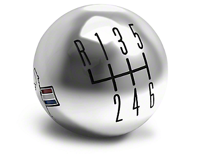 Modern Billet Retro 6-Speed Shift Knob w/ Tri-Bar Logo - Chrome (15-17 GT, EcoBoost, V6)