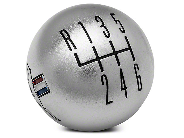 Modern Billet Retro 6-Speed Shift Knob w/ Tri-Bar Logo - Satin (15-18 GT, EcoBoost, V6)