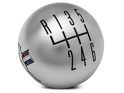 Modern Billet Retro 6-Speed Shift Knob w/ Tri-Bar Logo - Satin (15-17 GT, EcoBoost, V6)