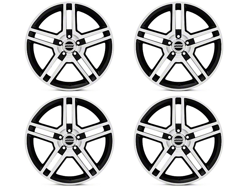 Black Machined 2010 GT500 Style 4 Wheel kit - 18x9 (05-14 All)