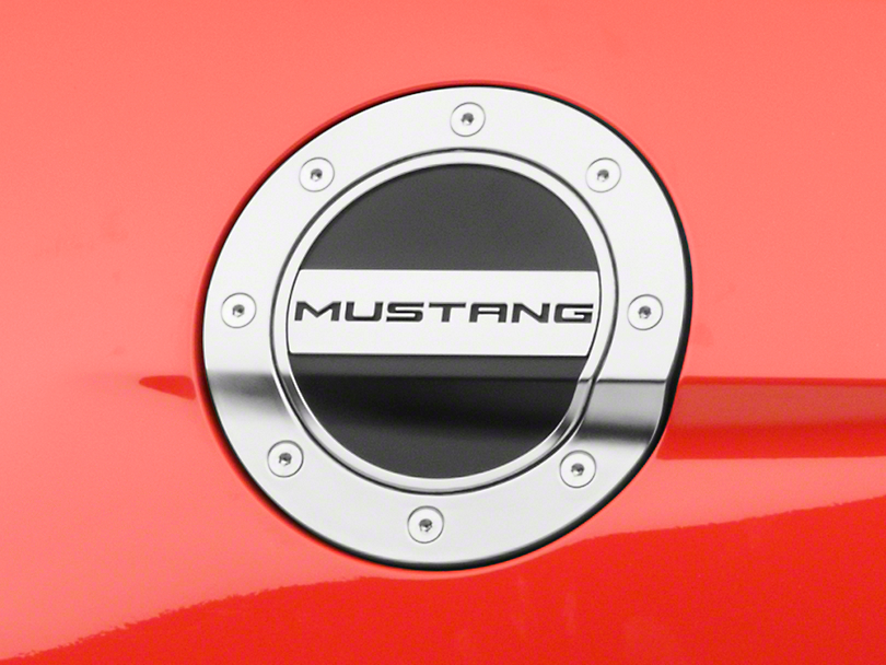 Competition Series Fuel Door w/ Mustang Logo - Silver & Black (15-18 All)